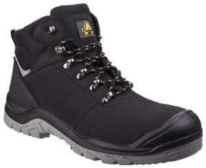 Amblers Black Lace Up Safety Boots With Scuff Cap As252