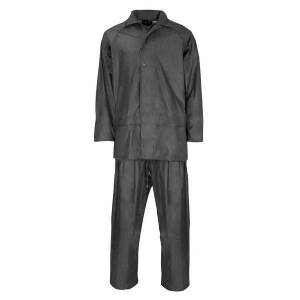 Supertouch Black Rainsuit Waterproof Trousers And Jacket Set 2 Piece Rain Wear